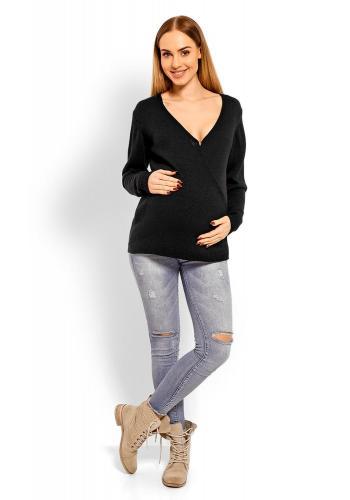 Tehotenský vlnený sveter s V výstrihom v smotanovej farbe