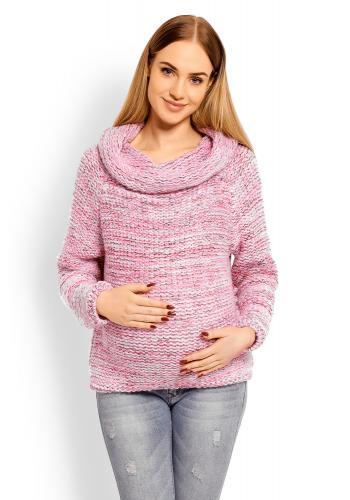 Tehotenský vlnený rolák v ružovej farbe