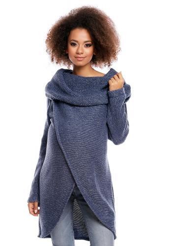 Tehotenský a dojčiaci asymetrický sveter s voľným rolákom v mätovej farbe