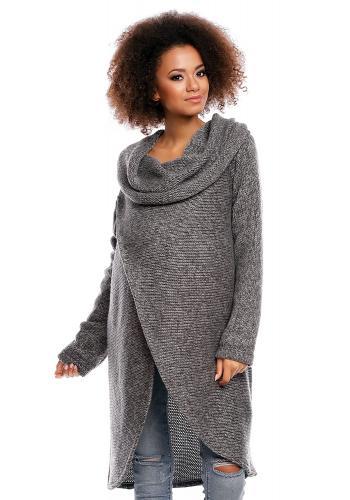 Čierny tehotenský a dojčiaci asymetrický sveter s voľným rolákom