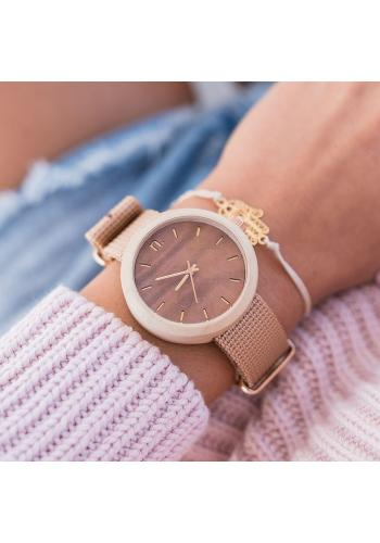 Dámske drevené hodinky s textilným remienkom v béžovo-fialovej farbe
