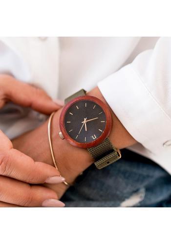 Béžovo-hnedé drevené hodinky s textilným remienkom pre dámy