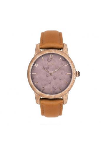 Dámske drevené hodinky s kovovým remienkom vo fialovo-zlatej farbe