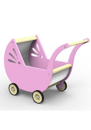 Drevený kočiar pre bábiky v sivej farbe