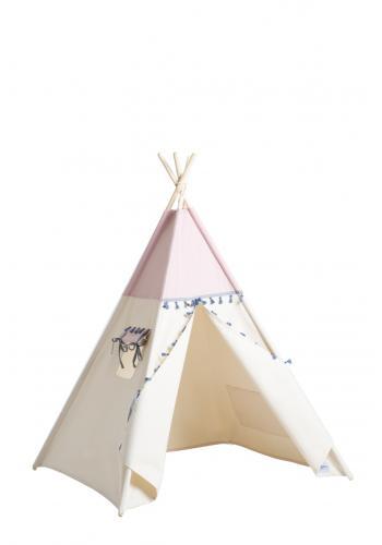 Béžový indiánsky stan s pompónmi pre deti