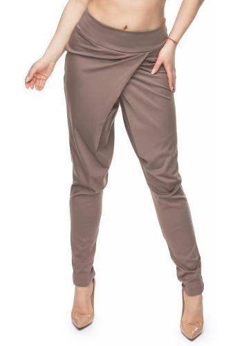 Štýlové nohavice s prekrytím v tmavomodrej farbe pre dámy