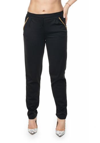 Štýlové nohavice so zlatým lemovaním v tmavomodrej farbe pre dámy