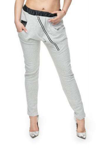Tmavosivé melanžové nohavice s ozdobným zipsom a EKO-kožou pre dámy