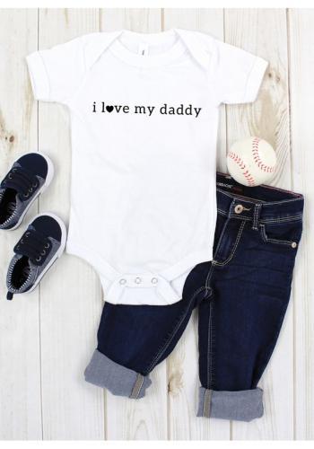 """Detské body s krátkym rukávom s nápisom """"I LOVE DADDY"""" v bielej farbe"""