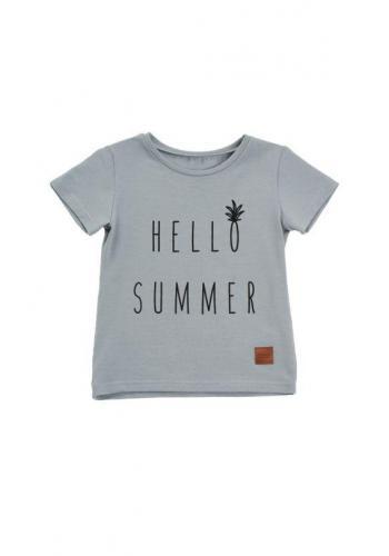 Sivé tričko s nápisom HELLO SUMMER pre deti