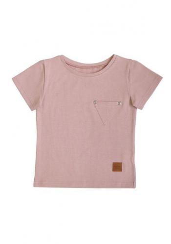 Dievčenské tričko vo svetlo ružovej farbe s vreckom