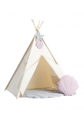 Stan pre deti béžovej farby so sivou podložkou a ružovým vankúšom