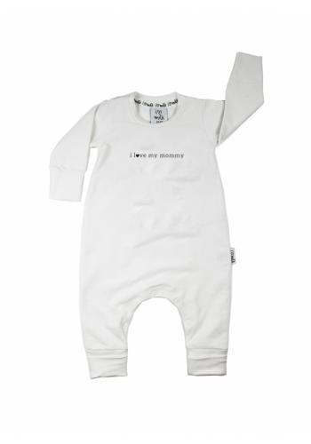 """Detský overal s nápisom """"i love mommy"""" v bielej farbe"""