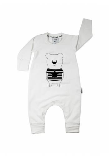 Detský overal s motívom medvedíka v bielej farbe