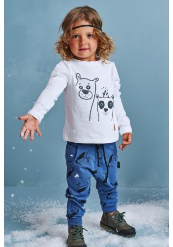 Biely bavlnený nátelík s potlačou medveďov pre deti