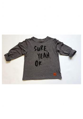 """Šedý nátelík pre deti s nápisom """"Sure Yeah OK"""""""