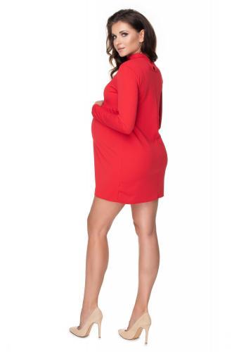Červené tehotenské šaty so stojatým golierom