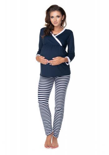 Tmavomodré/biele tehotenské a dojčiace pyžamo s nohavicami s brušným panelom a tričkom s dlhým rukávom s výstrihom