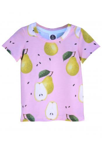 Dievčenské tričko s potlačou hrušiek v ružovej farbe