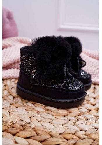 Trblietavé dievčenské snehule čiernej farby s kožušinou