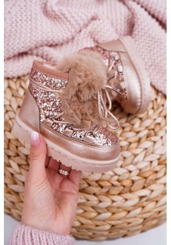 Ružovo-zlaté trblietavé snehule s kožušinou pre dievčatá