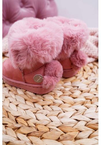 Semišové dievčenské snehule ružovej farby s kožušinou