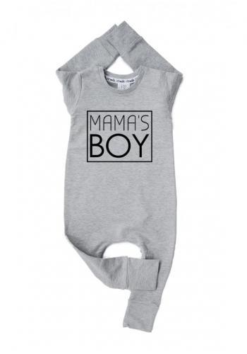 """Sivý bavlnený overal s nápisom """"mama's boy"""" pre chlapcov"""