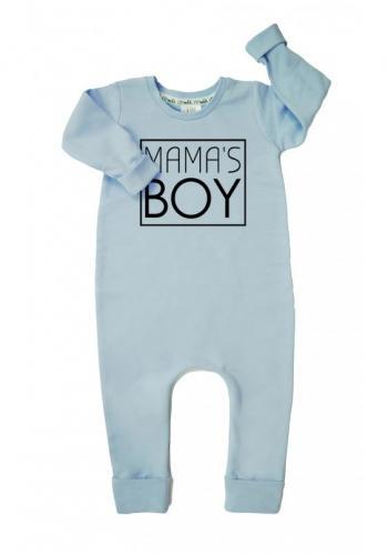 """Modrý bavlnený overal s nápisom """"mama's boy"""" pre chlapcov"""