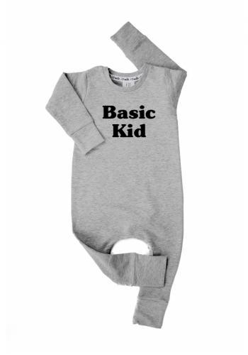 """Detský bavlnený overal s nápisom """"basic kid"""" v sivej farbe"""