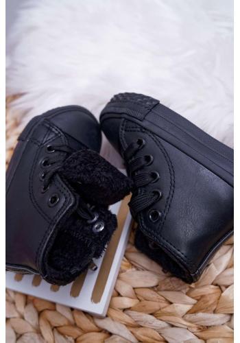 Detské oteplené tenisky s vysokým zvrškom v čiernej farbe