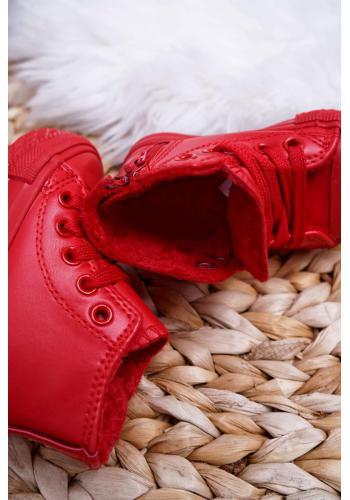 Červené oteplené tenisky s vysokým zvrškom pre deti