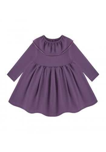Šaty pre dievčatá v tmavo fialovej farbe s golierikom
