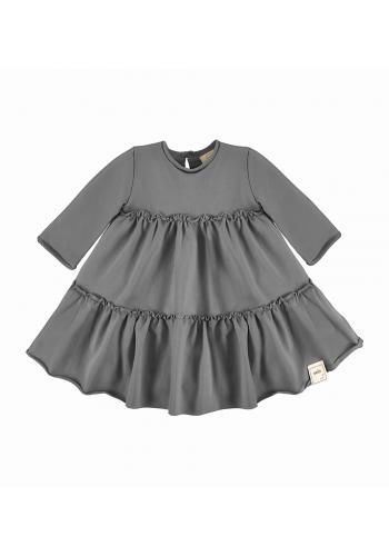 Dievčenské šaty v šedej farbe