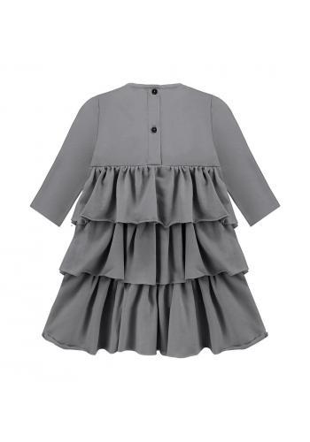 Šaty šedej farby pre dievčatá s volánikmi