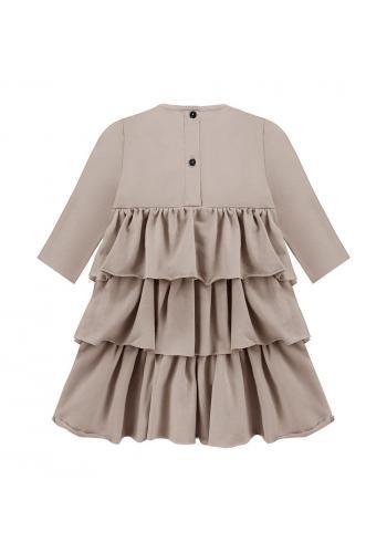 Šaty pre dievčatá s volánikmi v béžovej farbe