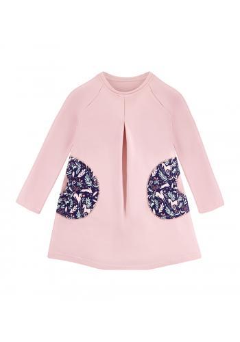 Šaty pre dievčatá s dlhým rukávom v ružovej farbe