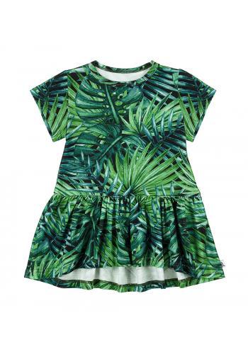 Zelené šaty s potlačou lístia pre dievčatá