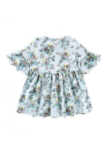 Šaty s krátkym rukávom s potlačou vtáčikov