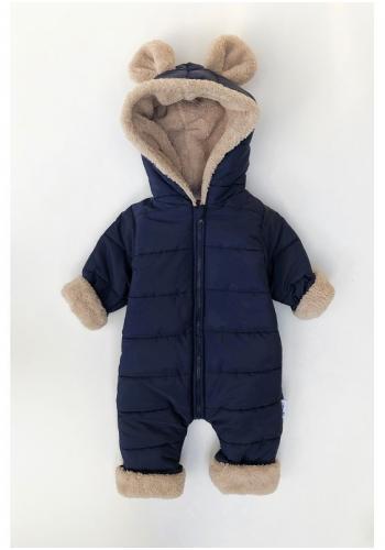 Zimná kombinéza pre deti s kapucňou a ušami v tmavomodrej farbe