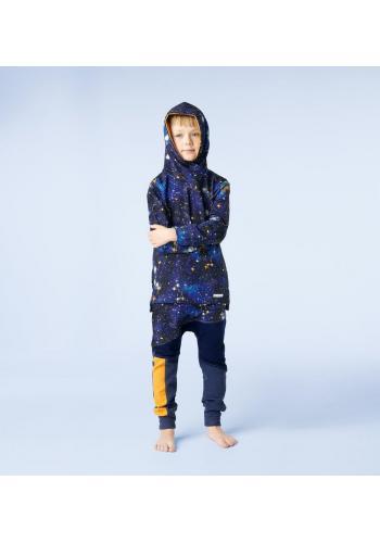 Tmavo modrá bavlnená tepláková súprava pre chlapcov s motívom vesmíru