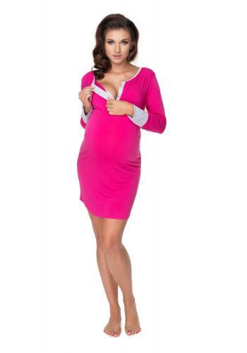 Ružová tehotenská a dojčiaca nočná košeľa na kŕmenie s gombíky na hrudi
