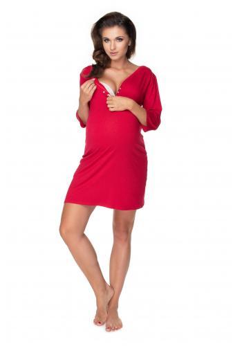 Tehotenská a dojčiaca nočná košeľa na kŕmenie s gombíky na hrudi a 3/4 rukávmi v bordovej farbe