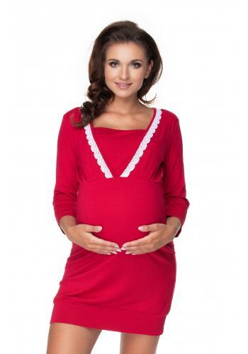 Tehotenská a dojčiaca nočná košeľa na kŕmenie s 3/4 rukávmi a ozdobnou čipkou v bordovej farbe