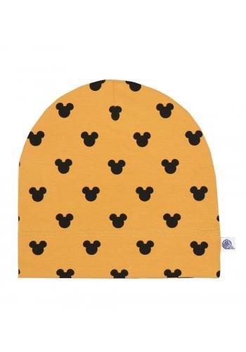 Bavlnená čiapka v horčicovej farbe s čiernymi myškami