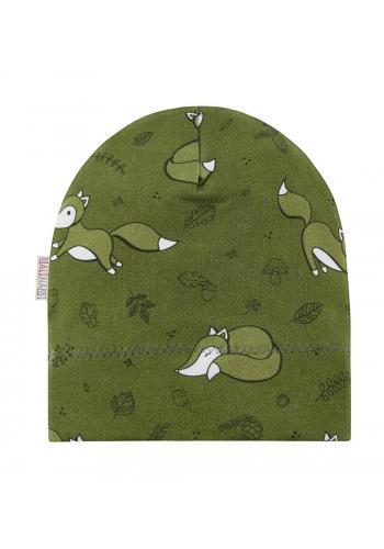 Zelená, bavlnená čiapka s motívom veveričky