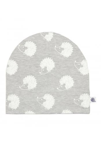 Bavlnená čiapka vo svetlo šedej farbe s bielymi ježkami