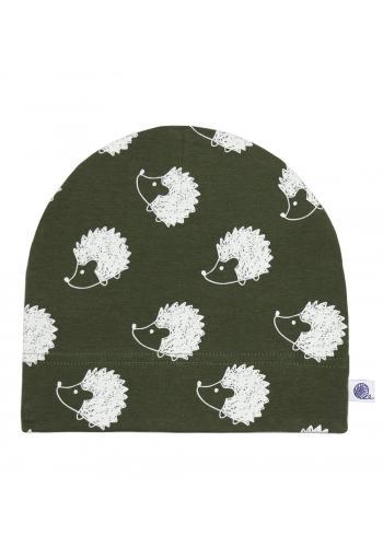 Bavlnená čiapka v zelenej farbe s bielymi ježkami