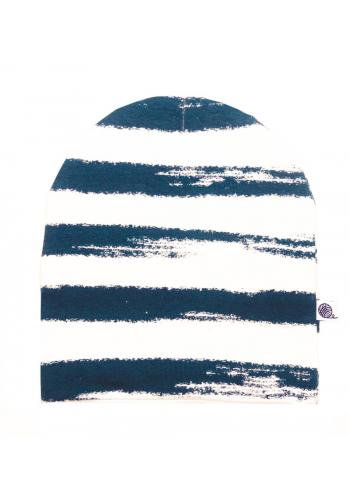 Bavlnená čiapka s bielo-modrými pruhmi