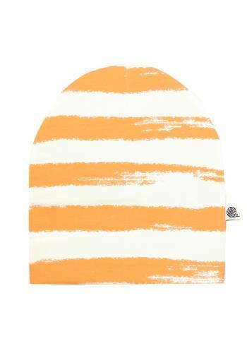Bavlnená čiapka s bielo-horčicový pruhmi