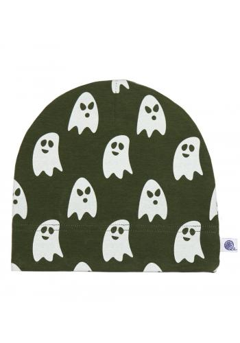 Zelená, bavlnená čiapka s bielymi duchmi